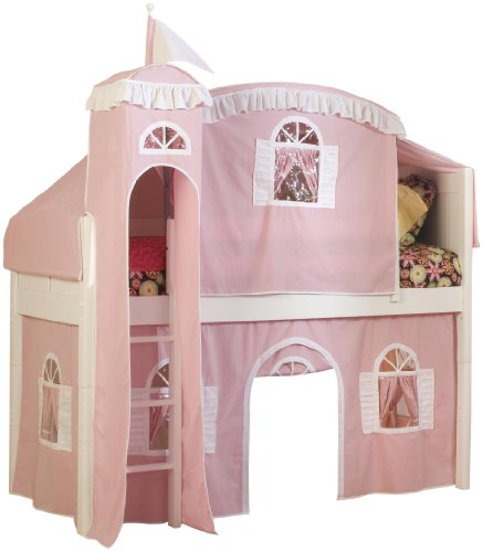 Bolton Furniture 9811500LT5PW Cottage Low Loft Castle Bed with Pink/White Tower, Top Tent and Bottom Curtain Playhouse, (Low Loft Castle)