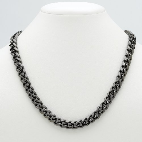 PalmBeach Jewelry Men's Black Rhodium-Plated Curb-Link 10.5 mm Necklace Chain 24""