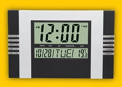 Reloj digital de Pared pantalla Jumbo LCD numeros grandes con termometro y calendario para cocina oficina
