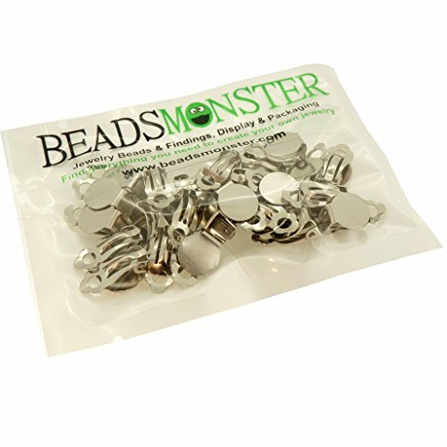 BeadsMonster Flat Round Tray Iron Clip-on Earring Findings for Jewelry Making, 10mm Paddle Back (Silver) (Small Button Earrings)