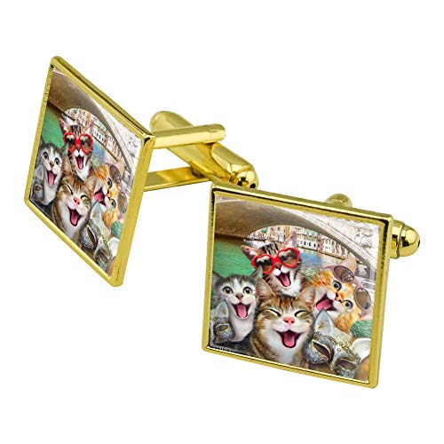 Graphics and More Venice Italy Cats Selfie Square Cufflink Set Gold Color