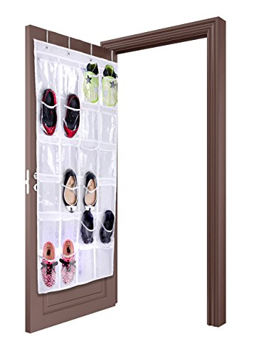 Over The Door Hanging Shoe Storage Organizer By Lebogner - 24 Clear Reinforced Vinyl Pouches, Store Up To 12 Pairs Of Shoes, White Space Saving Closet Accessories Organizer, Sturdy Shoe Organizer
