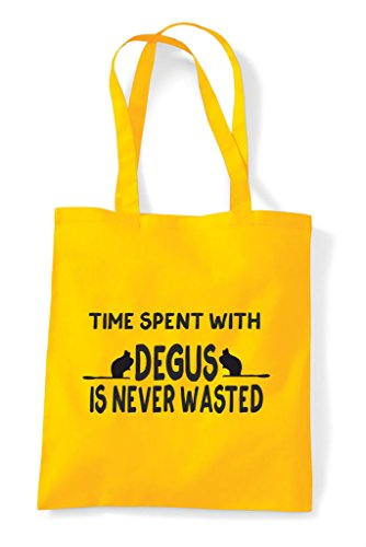 Never Degus Yellow Wasted Shopper Funny Is Time Spent With Bag Tote pxqEZIcU