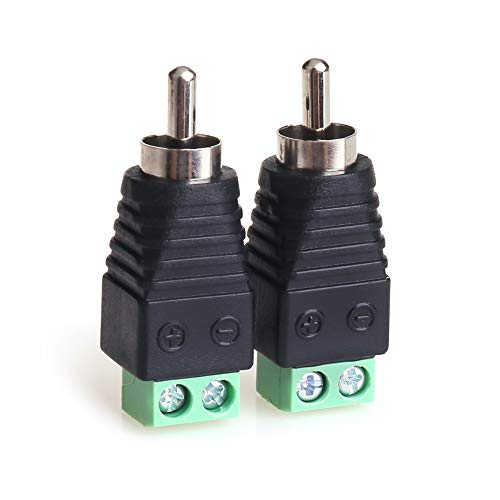 MOBOREST RCA Cable Audio Adapter, Phono RCA Male Plug to AV Screw Terminal Audio/Video Speaker Wire connectors Solderless Adapter(RCA Male-2pack) 2 Rca Male Connectors