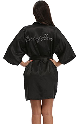 The Bund Women's Short Kimono Robes for Maid of Honor Black S Size]()