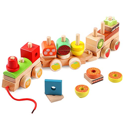 Lewo Wooden Stacking Train Set Toddler Pull Toys Geometric Shapes Sorter Puzzles Games Educational Toys for Kids