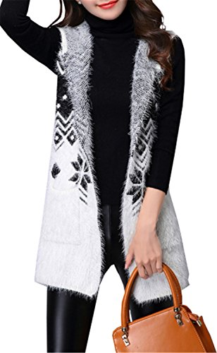 (Betusline Women Deer Pattern Mohair Hooded Knit Vest Sleeveless Cardigan Sweater)