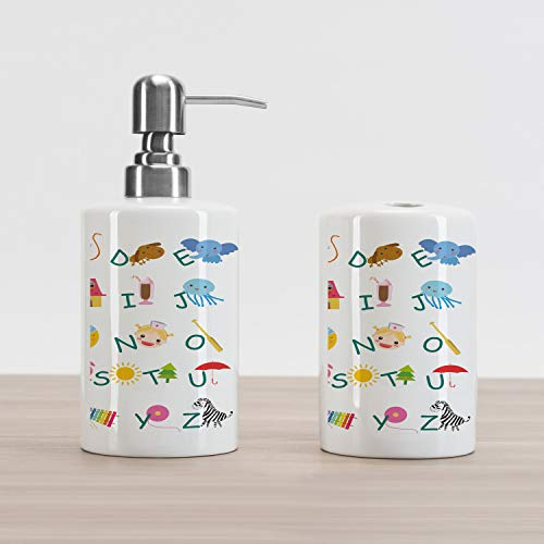 Educational Soap Dispenser and Toothbrush Holder