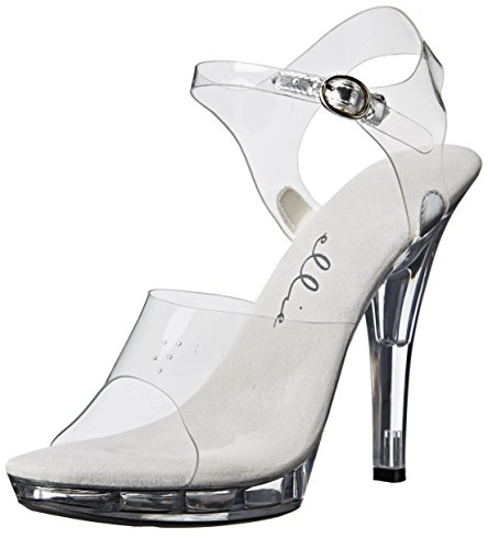 Ellie Shoes Women's M Brook Platform Sandal, Clear, 7 M (7 Spike Heel Sandals)