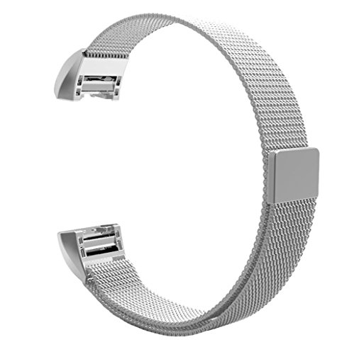 Fitbit Charge 2 Band, Smarmate Fully Magnetic Closure Clasp Mesh Loop Milanese Stainless Steel Bracelet Strap for Fitbit Charge 2 (Silver) by Smarmate