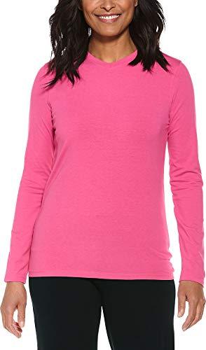 Coolibar UPF 50+ Women's Everyday V-Neck T-Shirt - Sun Protective (X-Small- Poppy Pink) ()
