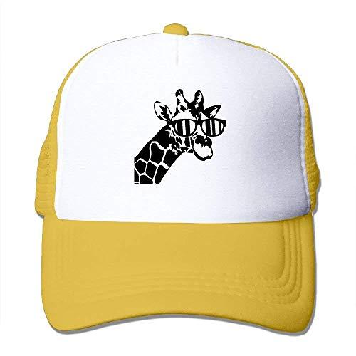 longkouishilong Gorras béisbol Two Tone Trucker Hat - Giraffe with Sunglass - Adjustable Mesh Hat