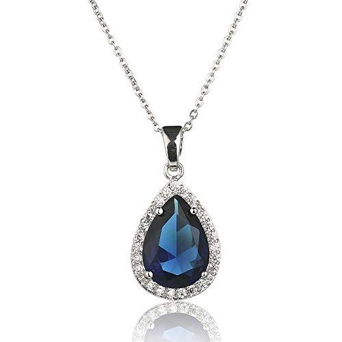 Zirconia Cubic Jewelry Sapphire (Meyome Cubic Zirconia Teardrop Pendant Necklace Brides Wedding Jewelry Platinum Plated Cable Chain 16.5