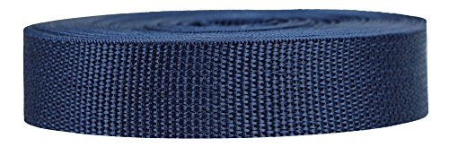 Strapworks Lightweight Polypropylene Webbing - Poly Strapping for Outdoor DIY Gear Repair, Pet Collars, Crafts - 1 Inch x 25 Yards - Navy Blue