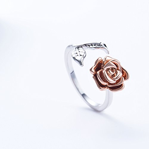 Rose Ring for Woman Flower Leaf Ring Adjustable by Meow Star (Image #2)