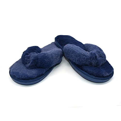 coface Home Spa Flops for Indoor Womens Blue Bedroom Plush Slippers Soft Fashion Shoes Flip qAXwAUxr