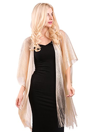 Glitter Open Front Cardigans Sheer Metallic Long Cardigan Blouse Tops with Tassel (Metallic Kimono)