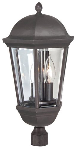 Craftmade Z3025-92 Post Mount Light with Beveled Glass Shades, Bronze Finish