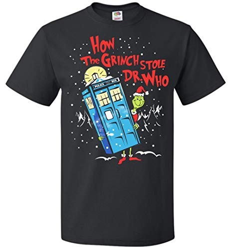ILLO COAST How The Grinch Stole Dr.Who Funny Mens Womens Christmas Costume Up to 5XL T Shirt Black ()