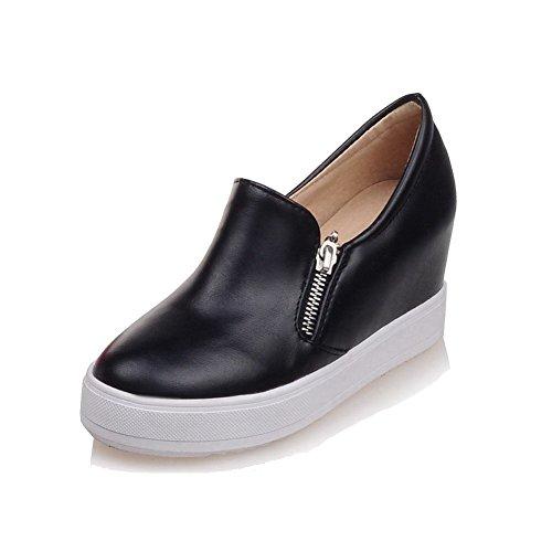 AllhqFashion Damen Hoher Absatz Reißverschluss Rund Schließen Zehe Pumps Schuhe Schwarz