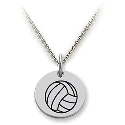 [Stellar White Sterling Silver Volleyball Disc Pendant Necklace Chain Included] (Sterling Silver Designer Slide Pendant)