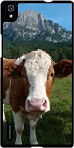 Funda para Huawei AscendP7 - Vaca Curiosa by Carsten Reisinger