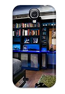 New Premium Flip Case Cover A Baseball-themed Bedroom With Built-in Shelves Skin Case For Galaxy S4
