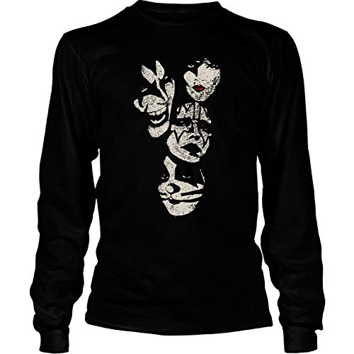 Kiss Distressed Makeup Faces T Shirt, Kiss Band T Shirt - Long Sleeve Tees (XXXL, -