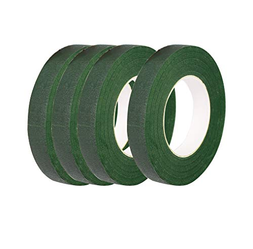 """CDOFFICE 4 Rolls Dark Green Floral Tapes for Bouquet Stem Wrapping and Florist Craft Projects(1/2"""" Wide, 30 Yard/Roll)"""
