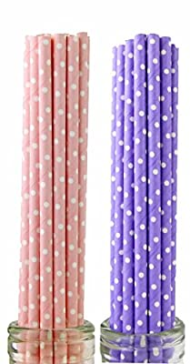 Secret Life(TM) 100 Pcs Biodegradable Paper Straws Kit with 2 Color and Patterns, Bachelorette, Baby Shower, Wedding, Birthday, Anniversary Party Supply