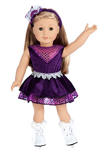 Ice Skating Queen - 3 piece outfit - Purple Leotard with Ruffle Skirt, Decorative Head Band and White Skates - 18 inch doll clothes (doll not included)