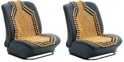 PAIR OF WOODEN BEAD//BEADED CAR INTERIOR FRONT SEAT COVERS