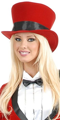 Women's Circus Magician Showgirl Red Top Hat With Black Ribbon Costume Accessory (Circus Magician Costume)