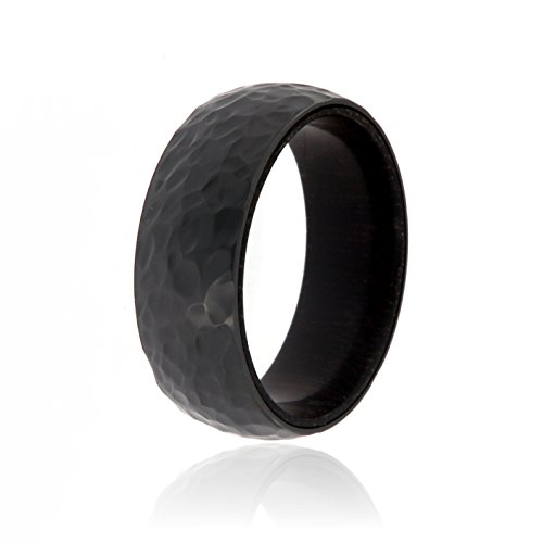 Black Zirconium Ring With Ebony Wood Sleeve And Premium Hammered Finish 8mm Wide Ring - USA Made Custom Jewelry And Bands