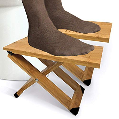 "Bathroom Stool (1 Pair) with Travel Bag Folding Bamboo Wood Squatting Stools 7"", 8"", 9"" Adjustable"