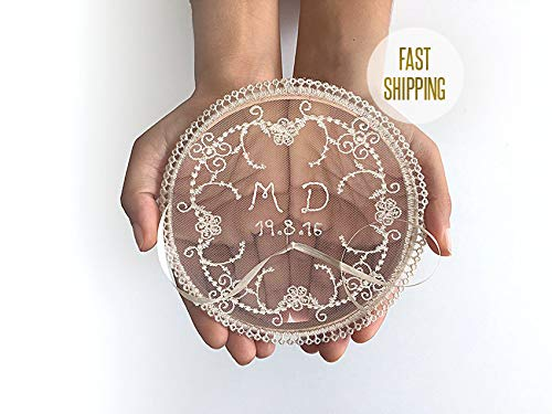 Monogram Ring Pillow, Ring Bearer, Date, Personalize, Boho, Holder, Lace, Alternative