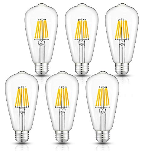 - CRLight 6W Dimmable Edison Style Vintage LED Filament Light Bulb, 3000K Soft White 60W Incandescent Replacement, E26 Medium Base ST64 Antique Shape Clear Glass Cover, Pack of 6