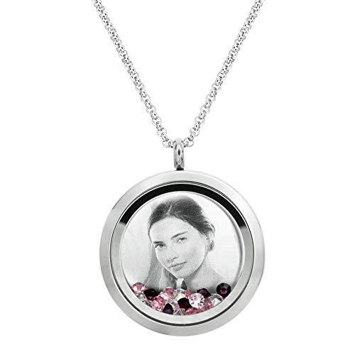 Personalized Photo Text Message Laser Engraved Locket Floating Pink Crystal Necklace Pendant To My Mom Daughter Friend Aunt Niece Grandmother Granddaughter Love note Sweet 16