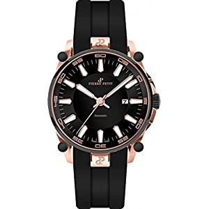 Pierre Petit Le Mans P-818D 44mm Automatic Ion Plated Stainless Steel Case Black Silicone Anti-Reflective Sapphire Men's Watch