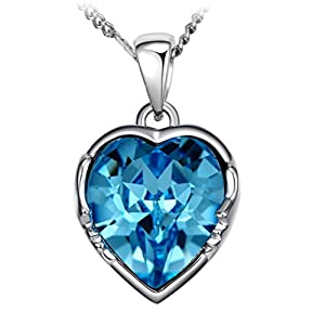 """The Starry Night Blue Heart Crystal Twelve Constellations Aquarius Shining Silver 18.5"""" Female Necklace"""