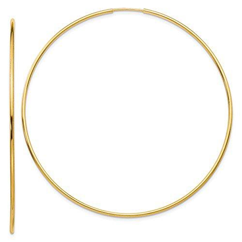 Large 14k Yellow Gold Continuous Endless Hoop Earrings, 1.2mm Tube (Jumbo Gold Hoop Earrings)
