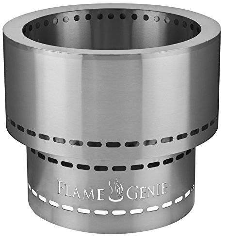 HY-C FG-16-SS Flame Genie Smoke-Free Spark-Free Portable Wood Pellet Fire Pit, Quick to Fire Hassle-Free Design, 13.5 x 12.5 Inches, Rust-Proof Stainless Steel