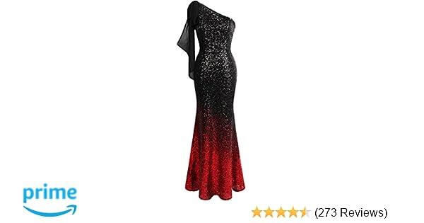 94de8113c336 Angel-fashions Women's Asymmetric Ribbon Gradient Sequin Mermaid Long Prom  Dress