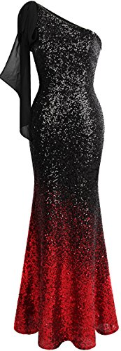Angel-fashions Women's Asymmetric Ribbon Gradual Sequin Mermaid Long Prom Dress (S, Black Red)