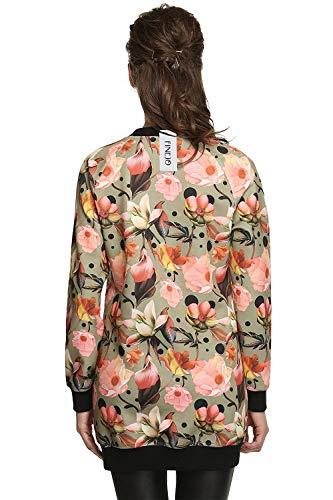 Di Schwarz Lunga Donna Bomber Autunno Semplice Giubotto Stampate Floreali Qualità Coreana Glamorous Elegante Moda Con Accogliente Collo Cappotto Giacca Cerniera Casual Alta Manica UC8nC