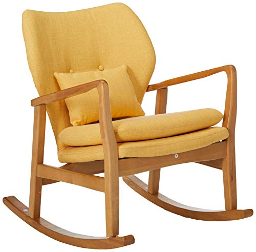 Christopher Knight Home 302101 Balen Mid Century Modern Fabric Rocking Chair (Muted Yellow)