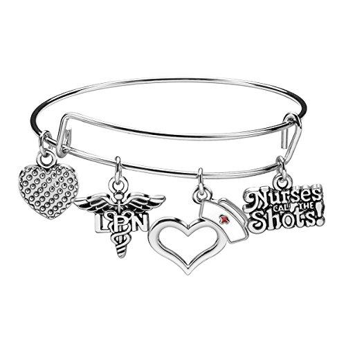 iWenSheng Nurse Gifts Bracelet for Women, Caduceus Angle EMT Heart Charm Expendable Bangle Bracelet, Nursing Jewelry Gift for Graduation