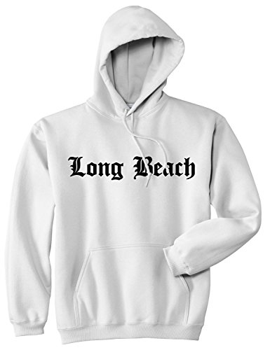 Ca Man Hoody - Kings Of NY Long Beach State City California CA Pullover Hoodie Large White