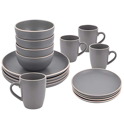 16 Piece Ceramic Dinnerware Set Service for 4, Gray, Dinnerware Sets Including Dinner Plates Dessert Plates Fruit Bowls Mugs Tableware Set for Daily Use