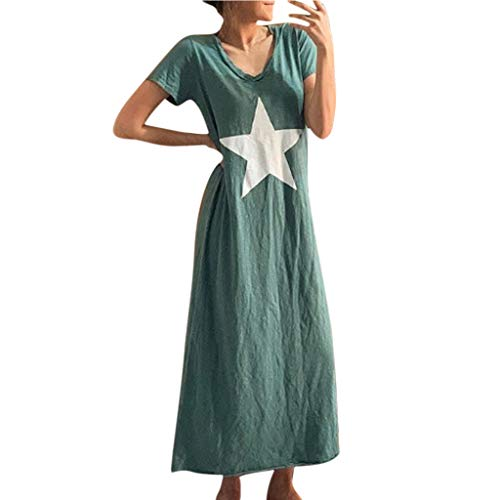 Sunhusing Ladies Solid Color Short-Sleeve V-Neck Five-Pointed Star Print Casual Loose Cotton Linen Long Dress Green